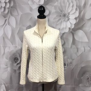 L.L. Bean Ivory Cable Knit Zip Up Cardigan M